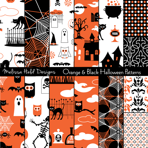Orange and Black Halloween Patterns Digital Papers & Background Melissa Held Designs    Mygrafico