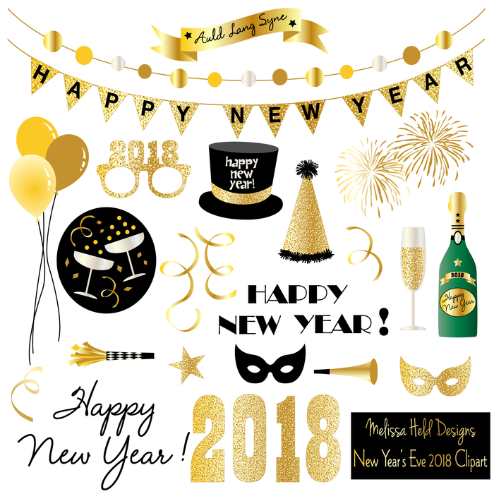 New Year's Eve 2018 Clipart Clipart Melissa Held Designs    Mygrafico