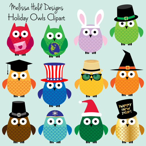Holiday Owls Clipart Clipart Melissa Held Designs    Mygrafico