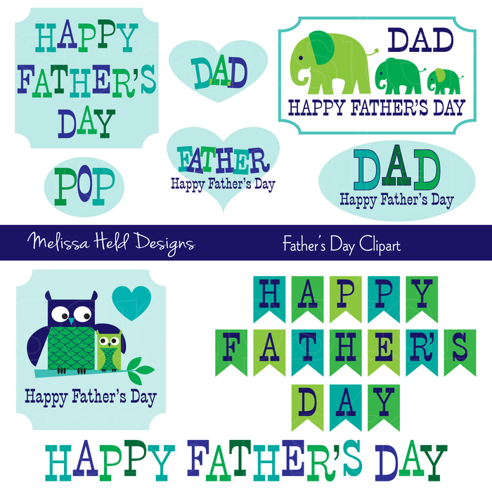 Father's Day Clipart with Owls & Elephants Clipart & Digital Paper Melissa Held Designs    Mygrafico