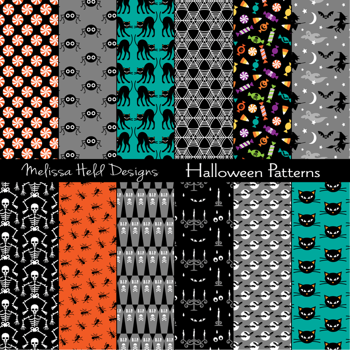 Halloween Patterns Digital Papers & Background Melissa Held Designs    Mygrafico