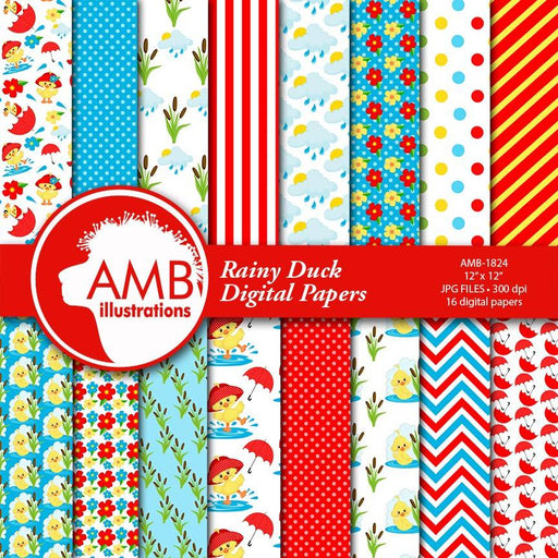 Rainy Days Digital Papers, Duck Papers, Rubber Duck Papers, Red Umbrella Papers, Cute Duck Papers, Spring Papers, Commercial Use, AMB-1824 Digital Paper & Backgrounds AMBillustrations    Mygrafico