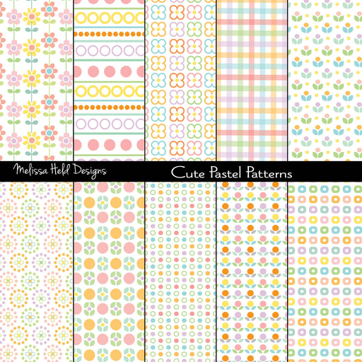 Cute Pastel Patterns Digital Paper & Backgrounds Melissa Held Designs    Mygrafico