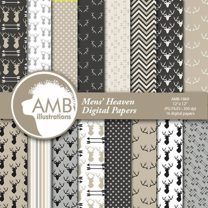 Rustic Digital Papers, Hunting Scrapbook Paper, Man Digital Papers, Father's Day Papers, Planners, Commercial Use, AMB-1869 Digital Paper & Backgrounds AMBillustrations    Mygrafico