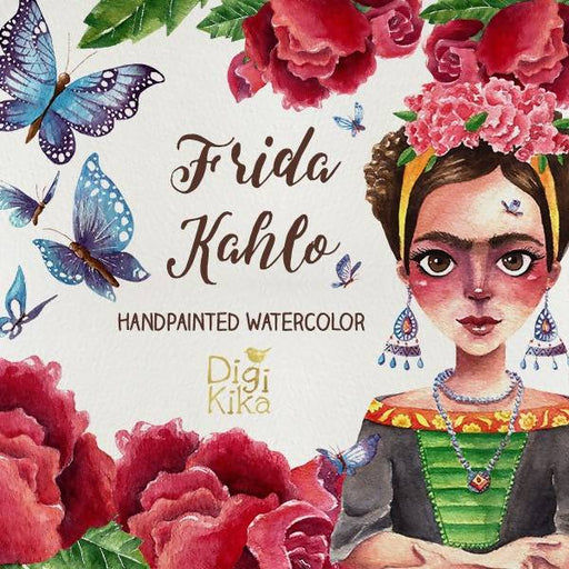 Fridas Clipart, Hand Painted Watercolor Clip Art, Painter Wartercolor Clipart, Frida Graphics, Butterfly, Roses, Planner Supplies, Hand Draw Cliparts DigiKika    Mygrafico