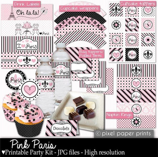 Pink Paris Party Printable Templates  Pixel Paper Prints    Mygrafico