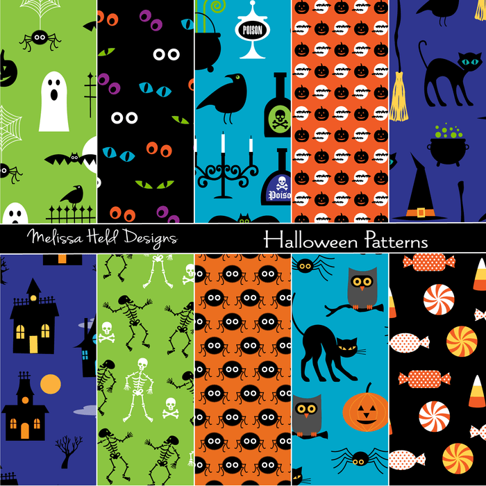 Bright halloween Patterns Digital Papers & Background Melissa Held Designs    Mygrafico