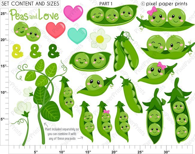 Peas in a Pod Clip art and Digital paper set  Pixel Paper Prints    Mygrafico