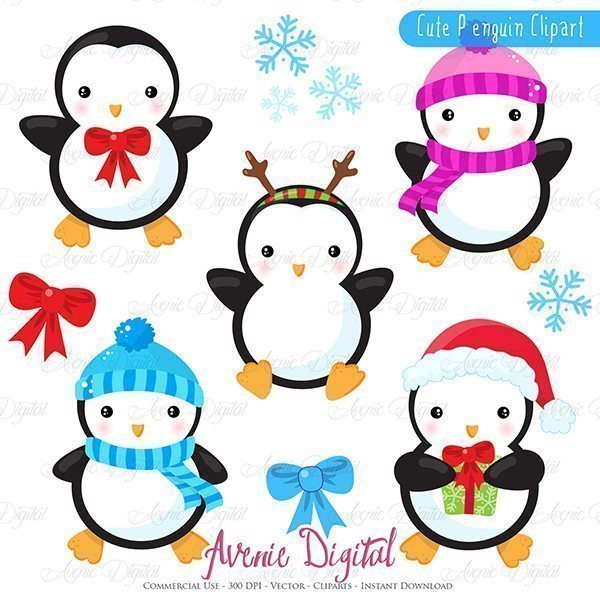Christmas Penguins Clipart  Avenie Digital    Mygrafico
