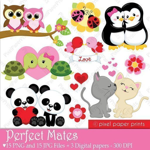 Animal Couples Valentine's Clipart  Pixel Paper Prints    Mygrafico