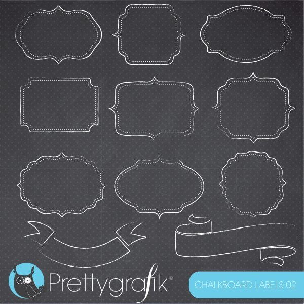 Chalkboard labels and frames clipart  Prettygrafik    Mygrafico