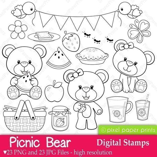 Picnic Bear - Digital stamps  Pixel Paper Prints    Mygrafico