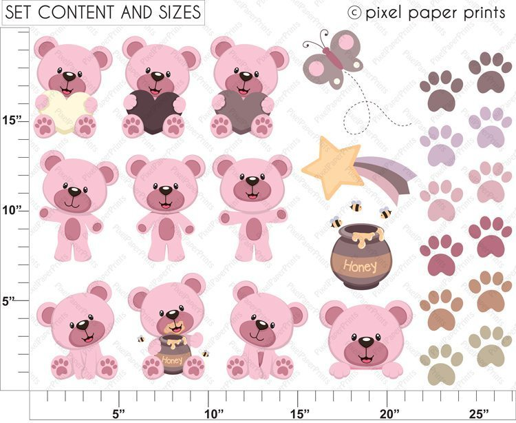 Pink Baby Bear Clipart  Pixel Paper Prints    Mygrafico