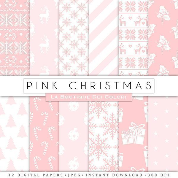 Pink Christmas Digital Paper  La Boutique Dei Colori    Mygrafico