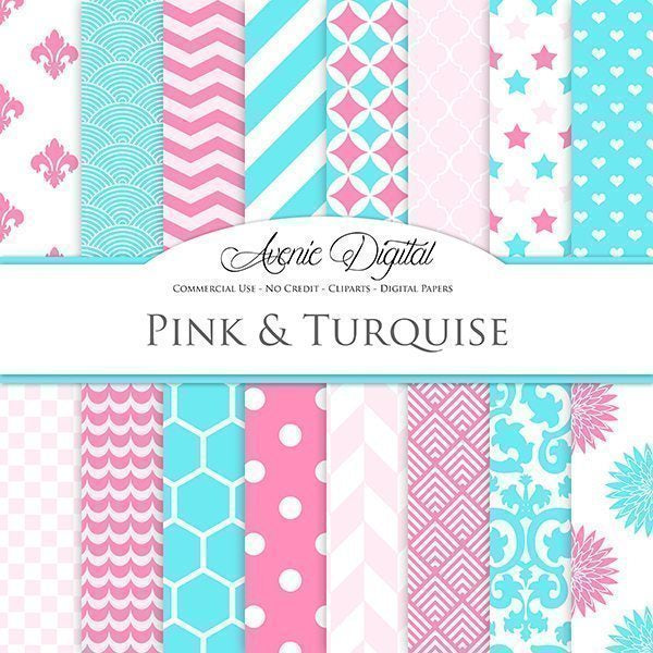 Turquoise and Pink Digital Paper  Avenie Digital    Mygrafico
