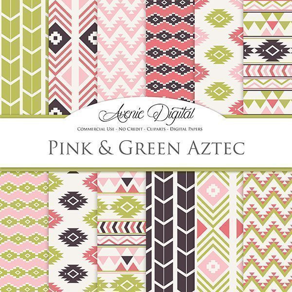 Pink and Green Aztec Digital Paper  Avenie Digital    Mygrafico
