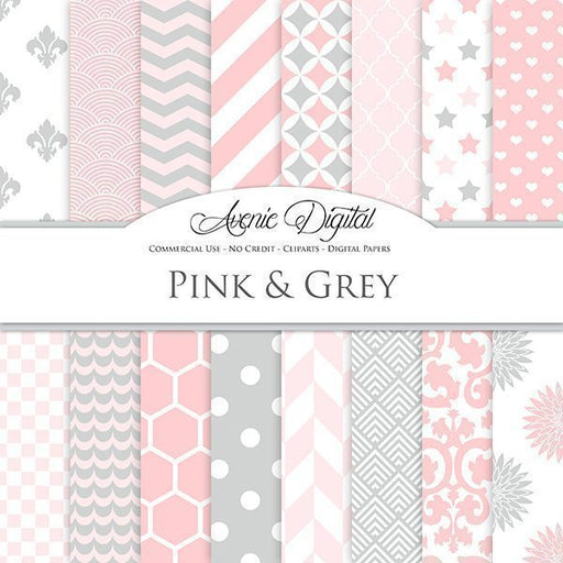Pink and Grey Digital Paper  Avenie Digital    Mygrafico