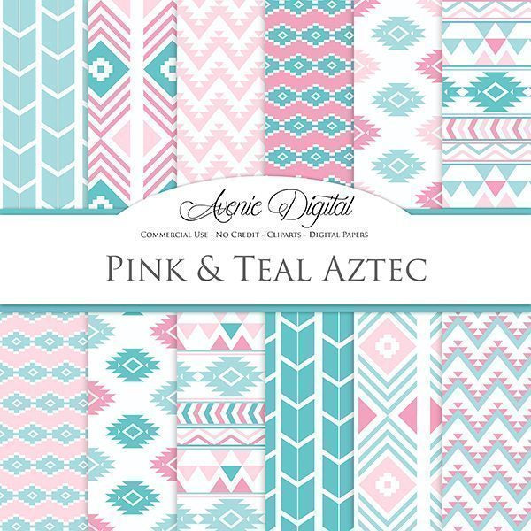 Pink and Teal Aztec Digital Paper  Avenie Digital    Mygrafico