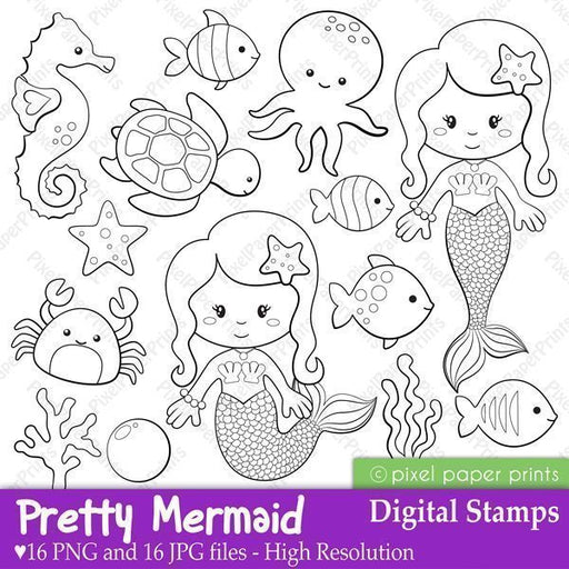 Pretty Mermaid - Digital Stamps  Pixel Paper Prints    Mygrafico