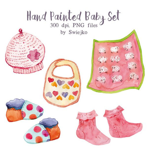 Baby girl set, newborn clipart, baby shower