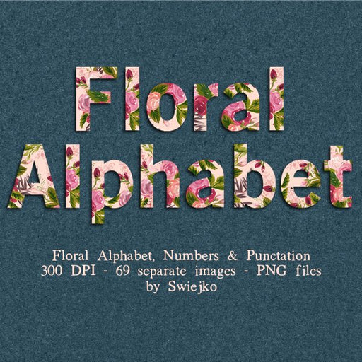 Floral Alphabet, Watercolor Letters, clipart set