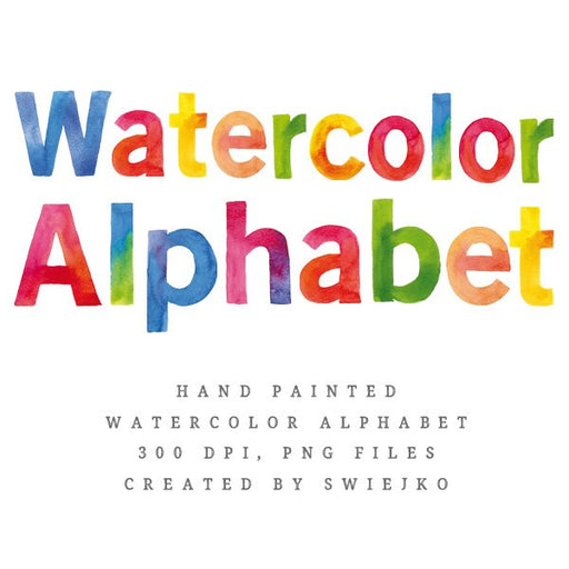 Watercolor Alphabet clipart set, hand painted letters Cliparts Swiejko    Mygrafico