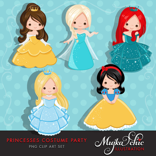 Princess Costume Party Clipart with cute characters Instant Download Princess Graphic  Mujka Chic    Mygrafico