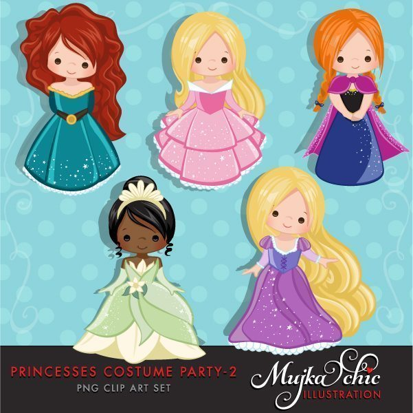 Princess Costume Party Clipart 2 with cute characters Instant Download Princess Graphic  Mujka Chic    Mygrafico