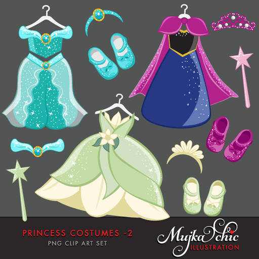 Princess Costumes Clipart 2 with cute matching dress up accessories Instant Download Princess Costume Graphics