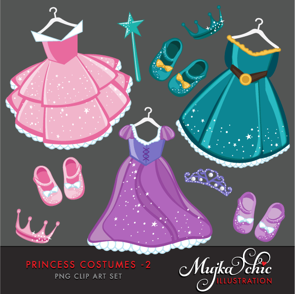 Princess Costumes Clipart 2 with cute matching dress up accessories Instant Download Princess Costume Graphics  Mujka Chic    Mygrafico