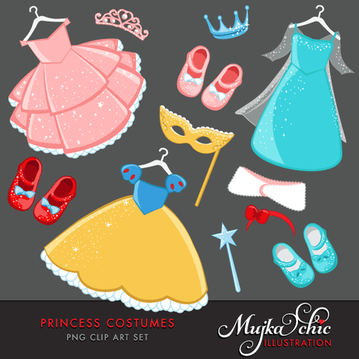Princess Costumes Clipart with cute matching dress up accessories Instant Download Princess Costume Graphics  Mujka Chic    Mygrafico