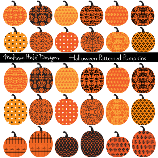 Patterned Pumpkins Clipart Clipart Melissa Held Designs    Mygrafico