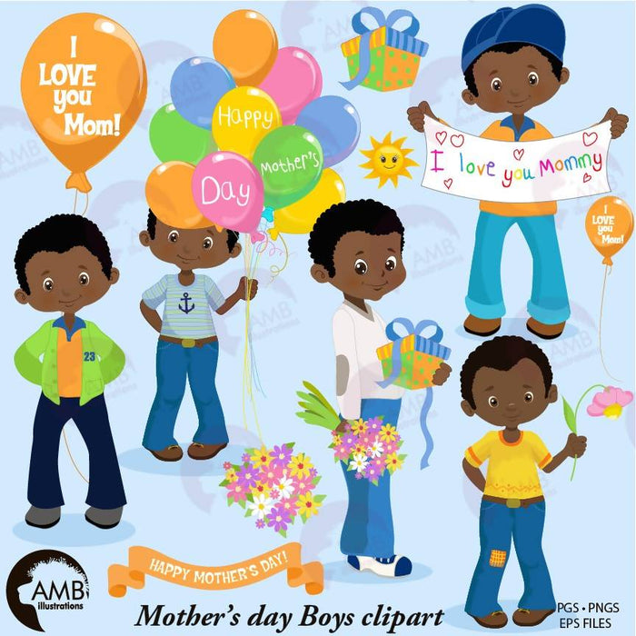 Mothers day Clipart, African American Mothers Day boys, Mom clipart, boys holding flowers clipart, fashion kids, digital clip art, AMB-1920 Cliparts AMBillustrations    Mygrafico