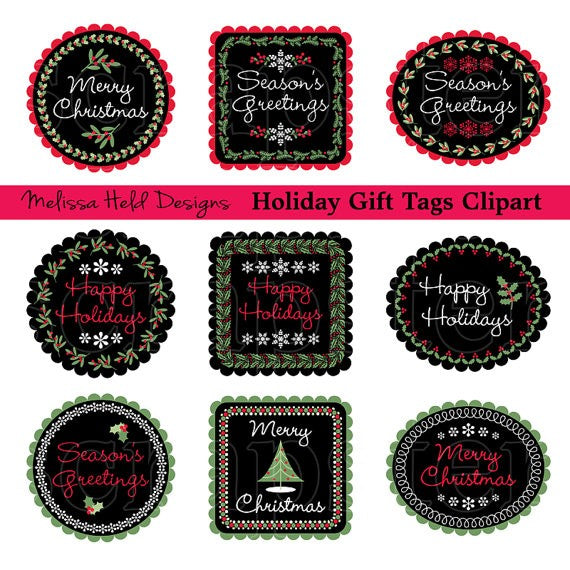 Black and Green Christmas Tags Cliparts Melissa Held Designs    Mygrafico