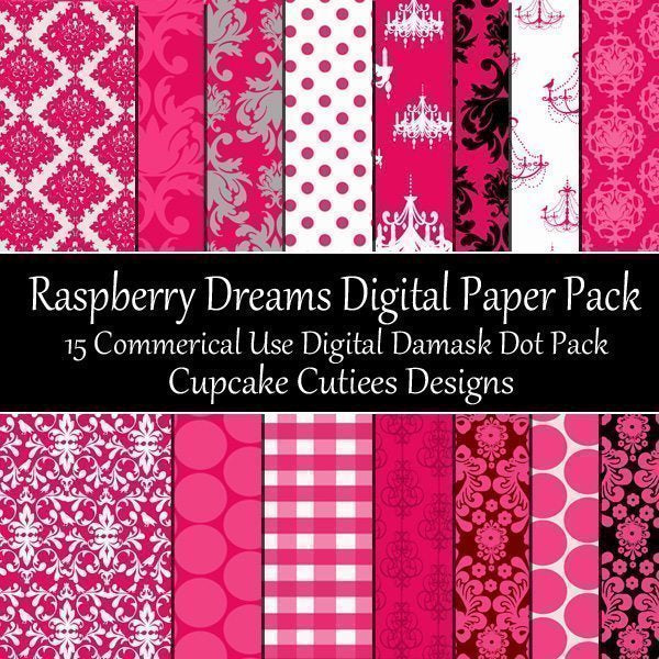 Raspberry Dreams Damask Papers  Cupcake Cutiees    Mygrafico