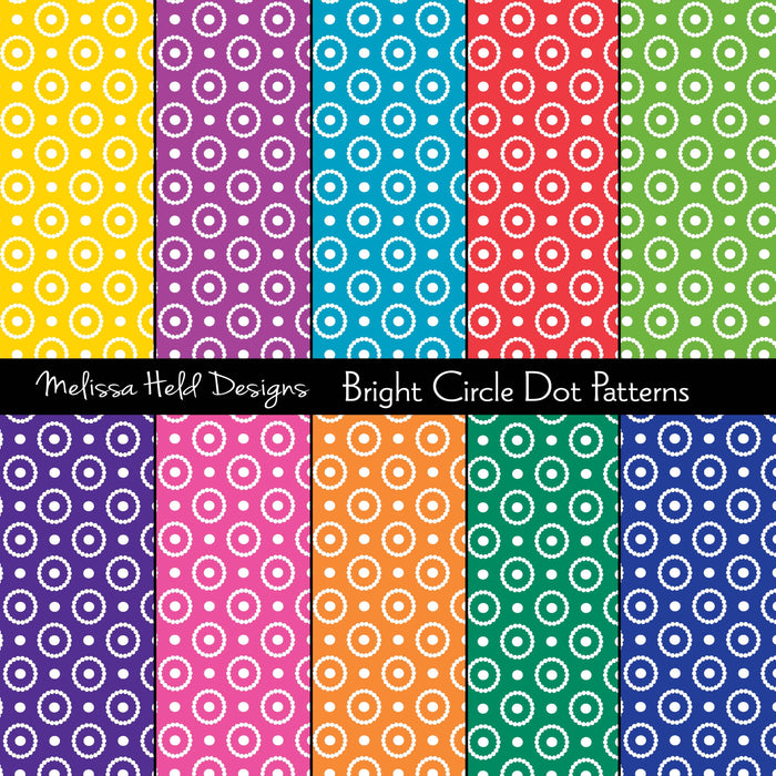 Bright Circle Dot Patterns Digital Paper & Backgrounds Melissa Held Designs    Mygrafico