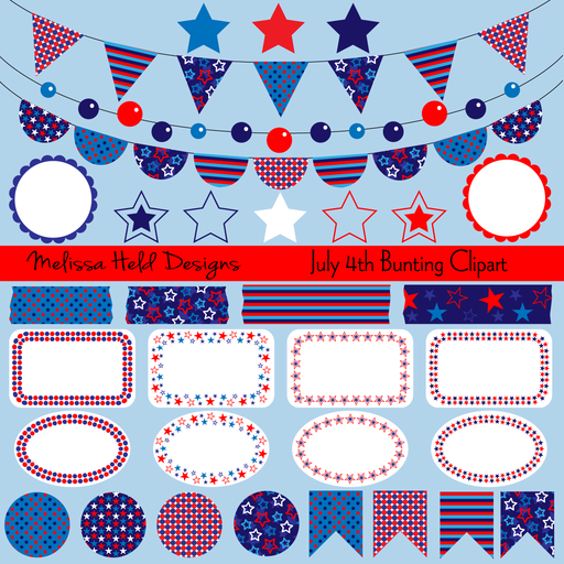 July Fourth Bunting Clipart Clipart Melissa Held Designs    Mygrafico