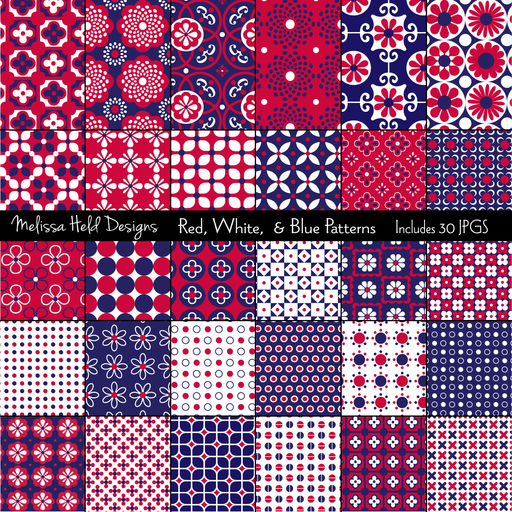 Red, White, & Blue Patterns Clipart Melissa Held Designs    Mygrafico