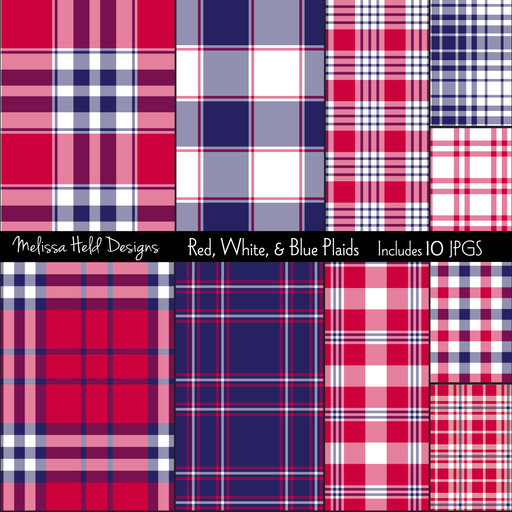 Red, White, & Blue Plaids Digital Papers & Backgrounds Melissa Held Designs    Mygrafico