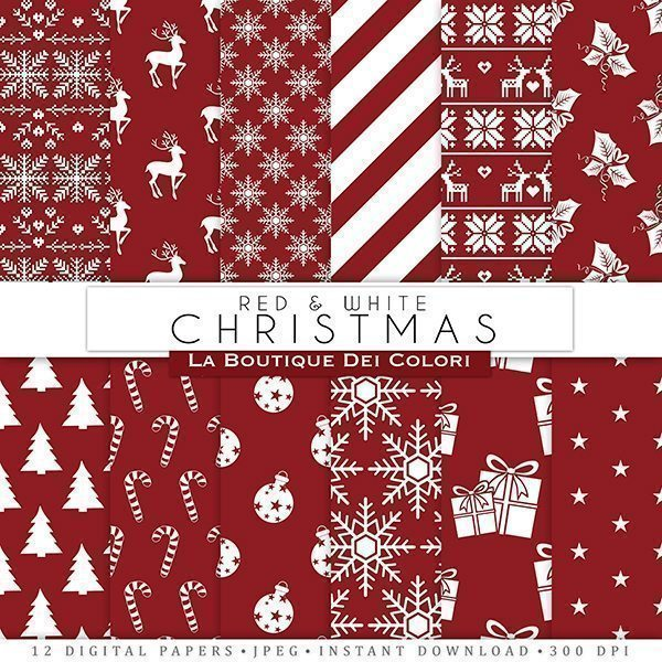 Red and White Christmas digital paper  La Boutique Dei Colori    Mygrafico