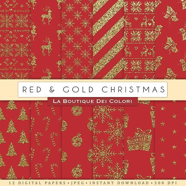 Red & Gold Christmas Digital Paper  La Boutique Dei Colori    Mygrafico
