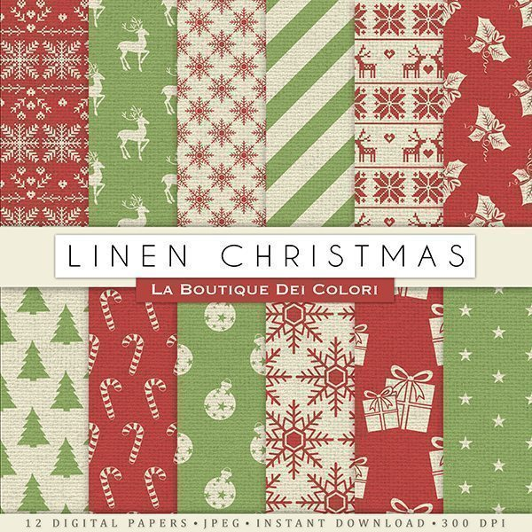 Linen Christmas Digital Paper  La Boutique Dei Colori    Mygrafico