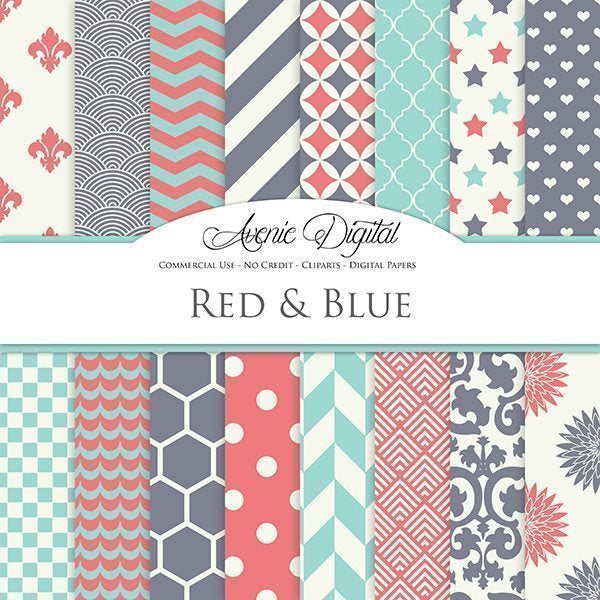Red, teal and grey Digital Paper  Avenie Digital    Mygrafico