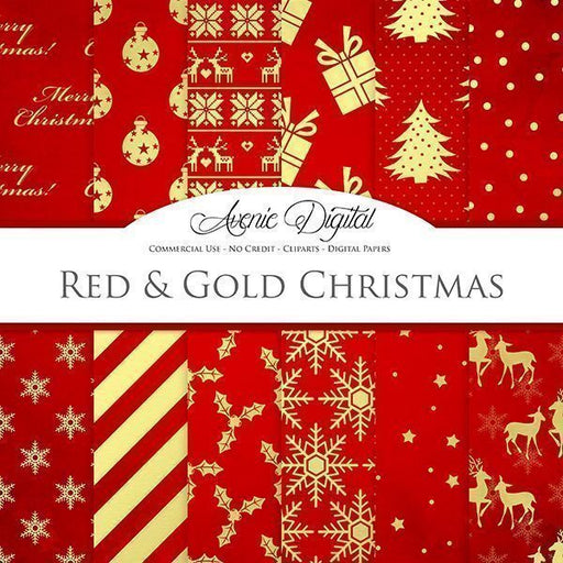 Red Christmas Digital Paper  Avenie Digital    Mygrafico