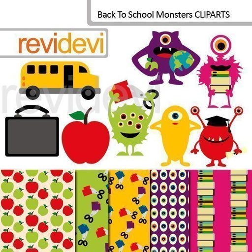 Back to school monsters cliparts  Revidevi    Mygrafico