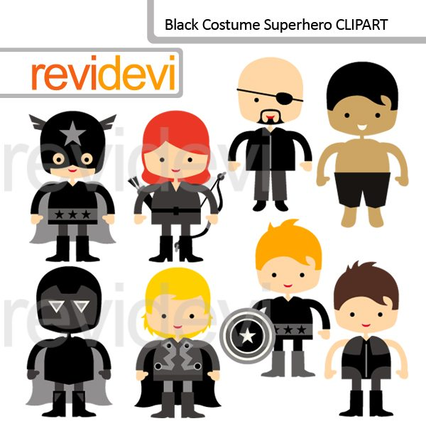 Black Costume Superhero Clipart  Revidevi    Mygrafico