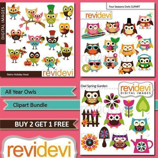 All Year Owls Clipart Bundle  Revidevi    Mygrafico
