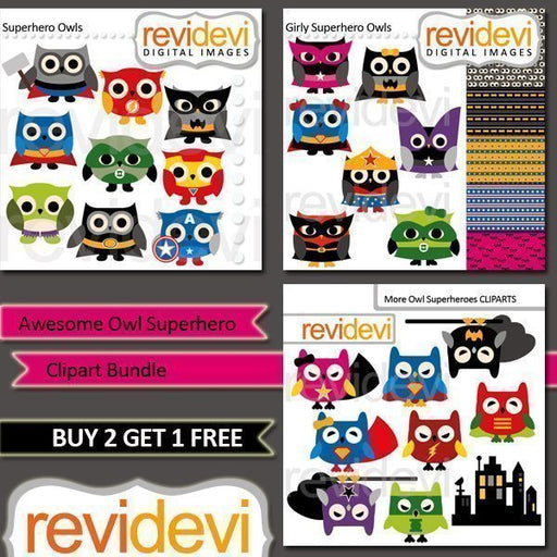 Awesome Owl Superhero Clipart Bundle