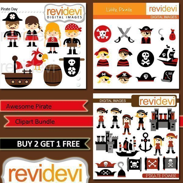 Awesome Pirate Clipart Bundle  Revidevi    Mygrafico