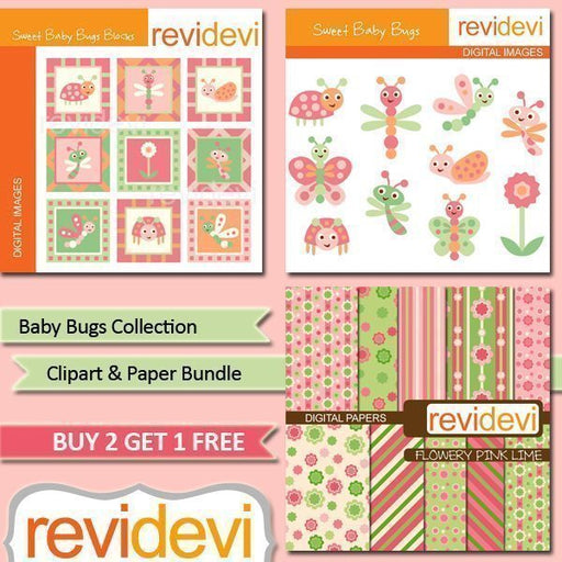 Baby Bug Collection Clipart Bundle  Revidevi    Mygrafico